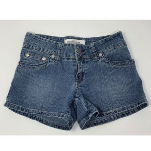 Juniors HYDRAULIC Denim Blue Jean Shorts 3/4